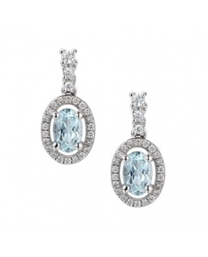 Silver Aqua CZ Earrings