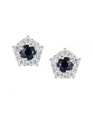 Silver Sapphire CZ Earrings