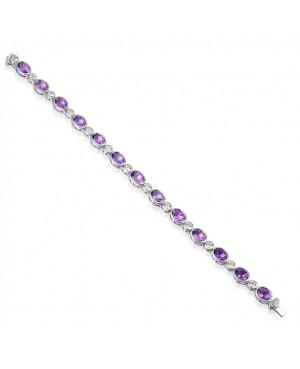Silver Amethyst Cubic Zirconia Bracelet