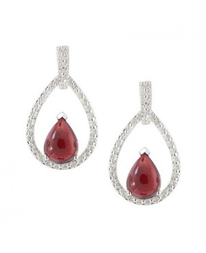 Silver Garnet Cubic Zirconia Earrings