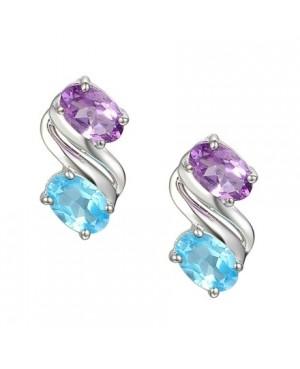 Silver Amethyst Topaz Earrings