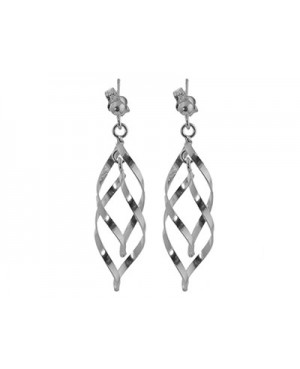 Silver Spiral Drop Earrings