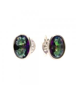 Silver & Mystic Topaz Stud Earrings