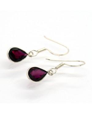 Silver & Garnet Pearshape Hook Drop Earrings