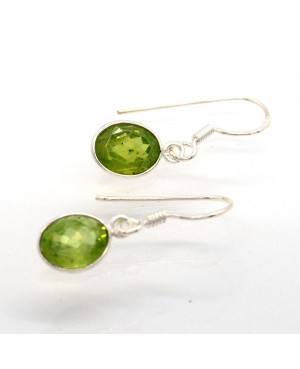 Silver & Peridot Hook Earrings