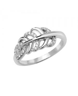 Silver & CZ Leaf Ring