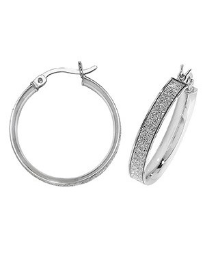 Silver Sparkle Hoops 20mm