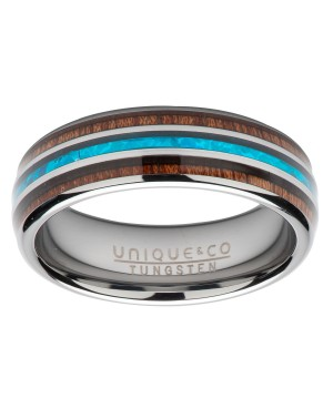 Tungsten Carbide Ring with Wood & Replica Blue Opal...