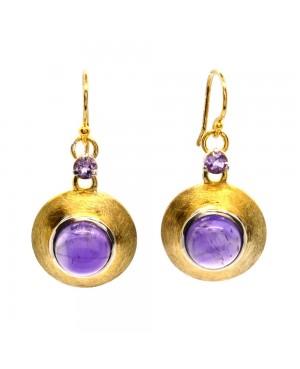 Gold Plated Sterling Silver & Amethyst Drop Earrings