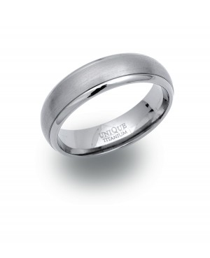 Titanium Band Ring with Satin Centre 6mm