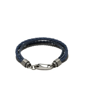 Leather and Haematite Multi Strand Black and Blue...