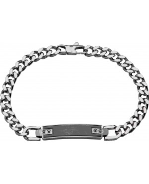 Stainless Steel ID Bracelet with Black Ion Plating...