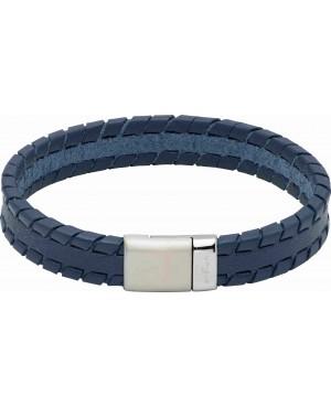 Leather Bracelet with Matte/Polished Steel Magnetic...
