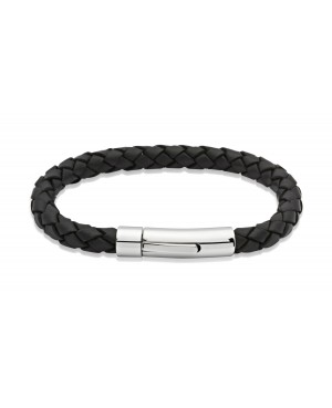 Black Leather Bracelet with Stianless Steel Clasp