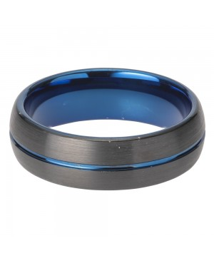 Tungsten Carbide Black Ring with Blue Line