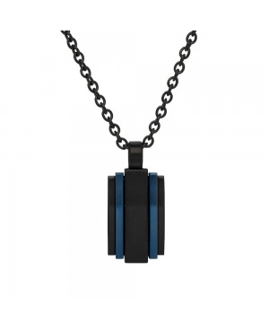 Stainless Steel Black and Blue Ion Plated Pendant...