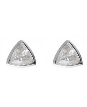 Silver & Cubic Zirconia 3mm Trillion Cut Stud Earrings