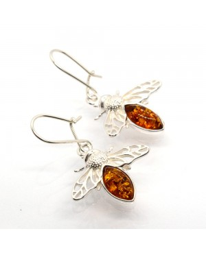 Sterling Silver & Amber Bee...