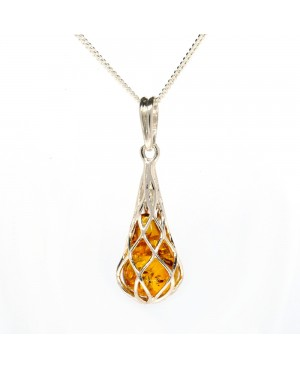 Sterling Silver & Amber Pendant & Chain