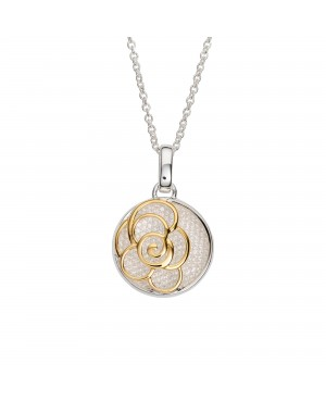 """Silver & Gold Plated Flower Pendant & 20"""" Chain"""