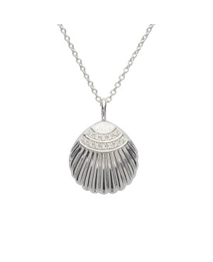 Sterling Silver Clamshell Locket with Cubic Zirconia...