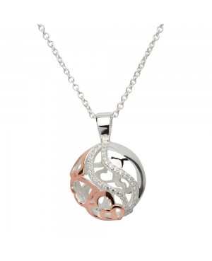 """Silver & Rose Gold Plated Spherical Pendant & 20"""" Chain"""