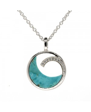 Sterling Silver, Turquoise & Cubic Zirconia Pendant...