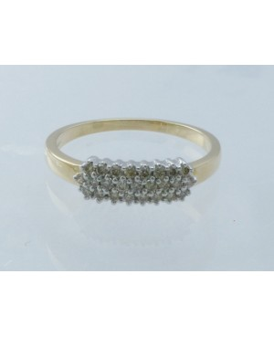 9ct Yellow Gold & Diamond 3 Row Ring
