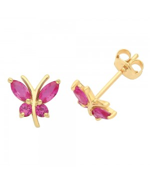 9ct Yellow Gold & Ruby Butterfly Stud Earrings