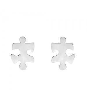 Silver Jigsaw Earrings