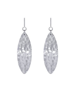 Silver Hammered Oval Drop Earrings