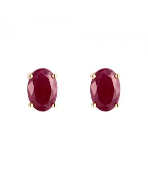 9ct Yellow Gold & Oval Ruby Claw Set Stud Earrings