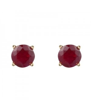 9ct Yellow Gold & Round Ruby Stud Earrings