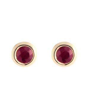 9ct Yellow Gold & Round Rub Over Set Ruby Earrings