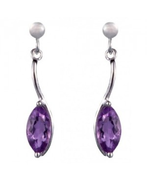 Silver & Marquise Amethyst Drop Earrings
