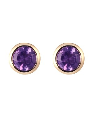 9ct Yellow Gold & Round Amethyst Rubover Set Stud...