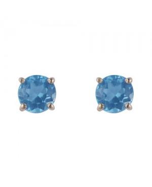 Silver & Round Blue Topaz Stud Earrings