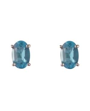 Silver & Oval Blue Topaz Claw Set Stud Earrings