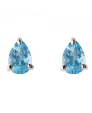 Silver & Pear-Shaped Blue Topaz Claw Set Stud Earrings