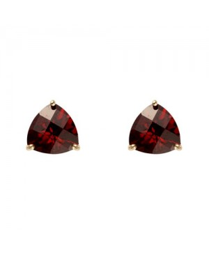9ct Yellow Gold & Facetted Trillion Garnet Stud...