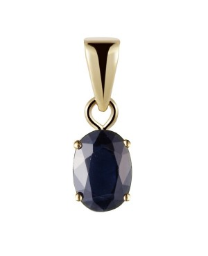 9ct Gold Oval Claw Set Sapphire Pendant
