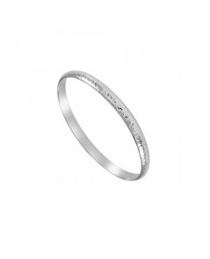 Silver Hammered D-Shaped Bangle