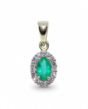 9ct Yellow Gold Emerald & Diamond Pendant