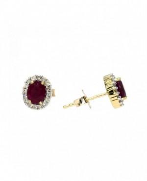 9ct Gold Ruby & Diamond Earrings