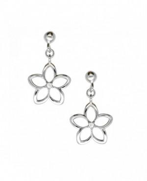 Silver & C.Z. Flower Drop Earrings