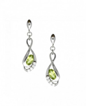 Silver Peridot & C.Z. Stud Earrings