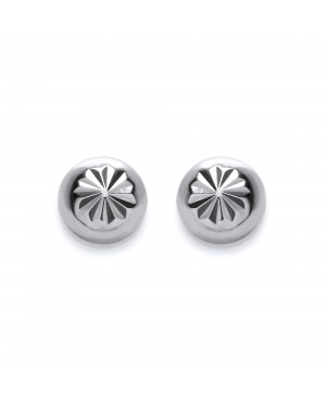 Silver Domed Stud Earrings