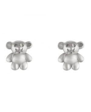 Silver Teddy Stud Earrings