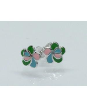 Silver & Enamel Flower  Stud Earrings