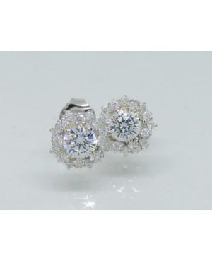 Silver & CZ Stud Earrings